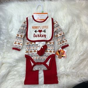 Baby girl Thanksgiving turkey outfit set